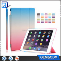 For iPad Air 2 Case Gradient Colour Smart Cover Transparent Back Cover Ultra Slim Auto Wake up/Sleep Tab Case Cover For iPad 6