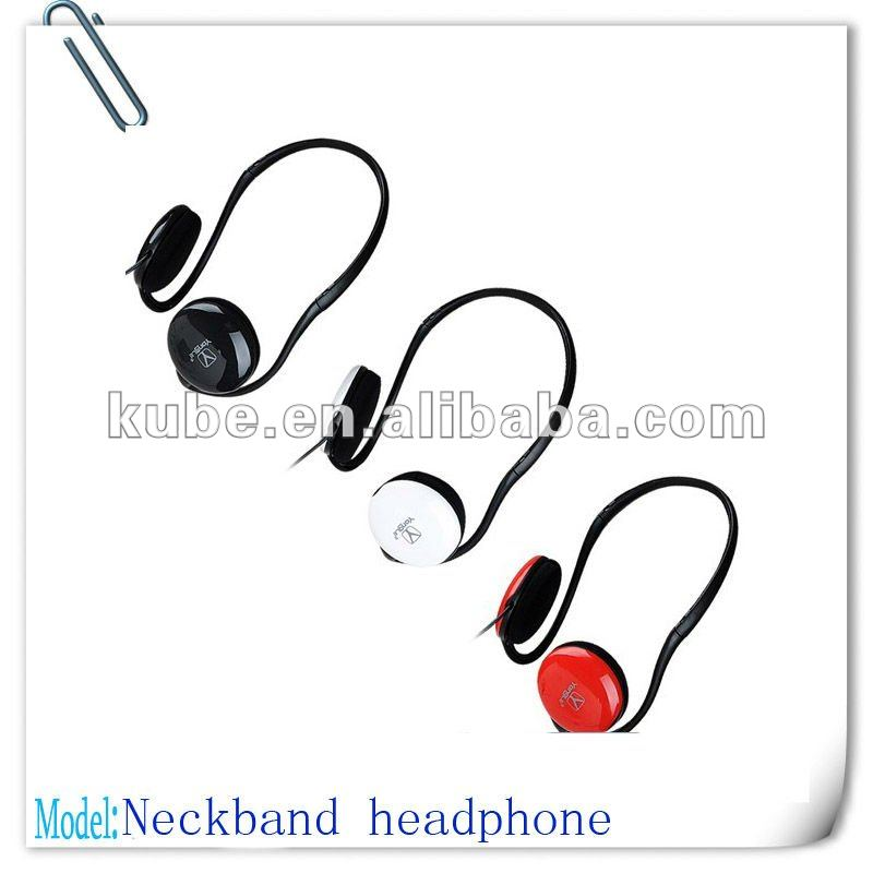 Red portable mini neckband headset for mp3,mp4,computer