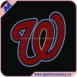 High quality Rhinestone Transfer Washington Nationals iron on motif for clothing