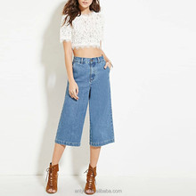 New fashion high waisted wide leg plain blue women cropped jeans