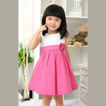 Pink baby cotton frock girls polka dots dress