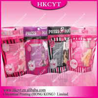 Customized design logo stand up Press on Hair 4 style zipper bag/New design packaging pouch for heat sealed