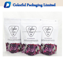 Custom printed resealable zip lock aluminum foil coffee bean packaging bags with vlave
