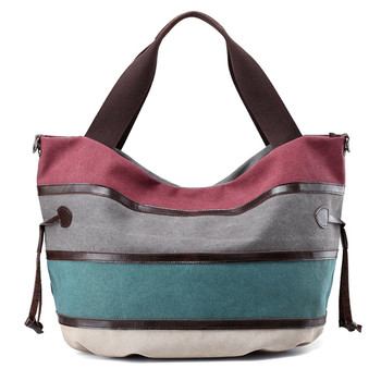 Custom design under private label handled style women stripe shoulder bag cotton canvas tote bag