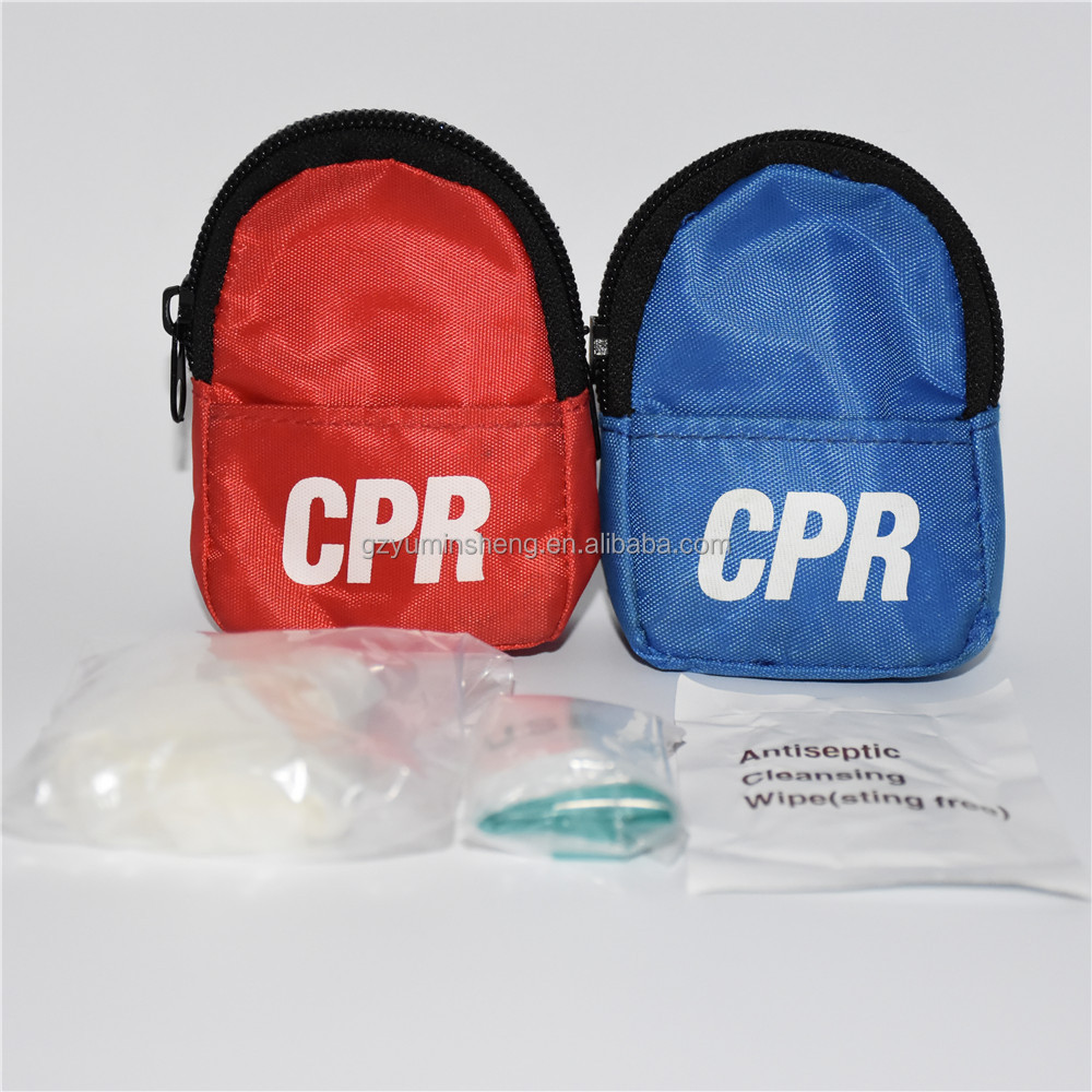 First aid kit cpr mask belt,mini keyring cpr mask backpack