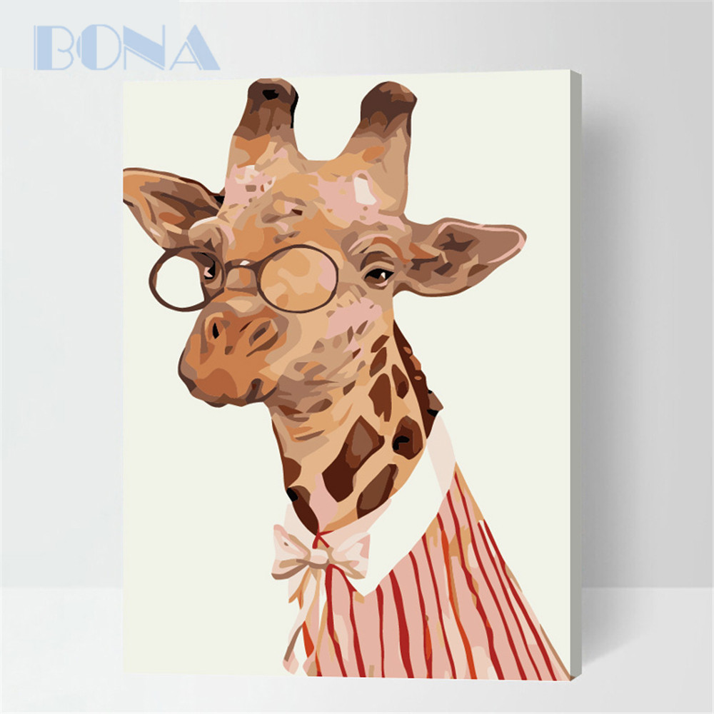 Bona Funny Animal Frameless Painting By Numbers Paint On Canvas Home Decoration