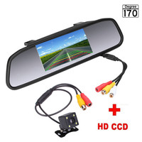 3U-80135 New 4.3 inch Car Rearview Mirror Monitor Rear View Camera CCD Video Auto Parking Assistance 8LED Night Vision Reversing