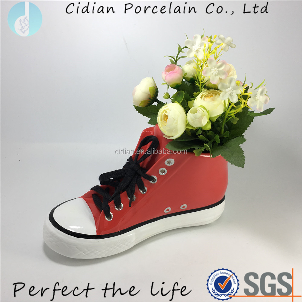 Red ceramic SHOES design flower pot for balcony planters