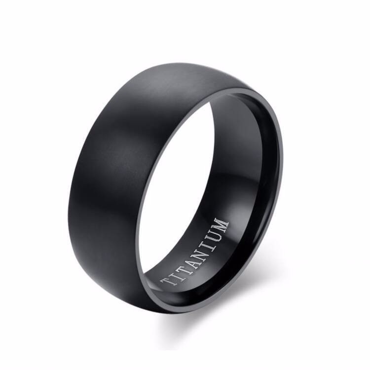 Simple Wedding Bands Plain Black Titanium Rings For Men
