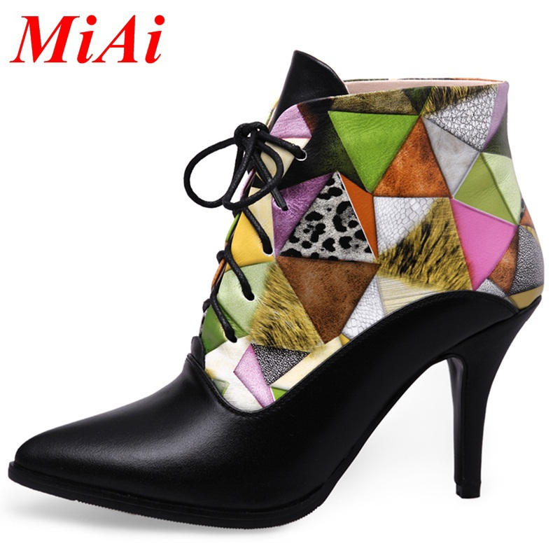 shoes women ankle boots 2015 new fashion genuine leather pointed toe winter boots high heels black red casual women riding boots