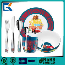 Euro best selling cartoon porcelain and stainless steel cutlery set for buffet supplies