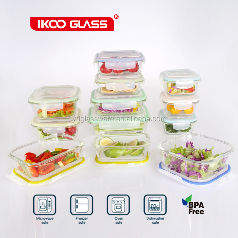 Borosilicate glass food container set with lid, rectangular microwave oven safe glass container for food