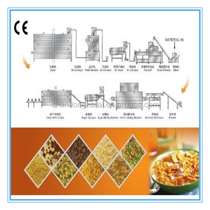 Different flavors of corn flakes making machine
