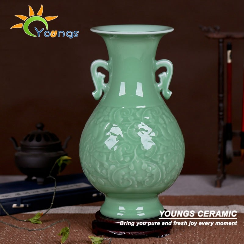 Retail Wholesale Chinese celadon vases hand carved craft for table lamps