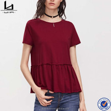 ladies clothing factory ruffle hem smock women loose short sleeve tshirt