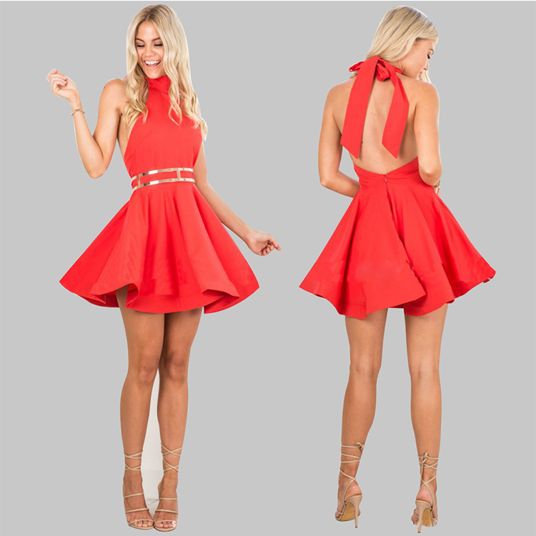 New skater dress style neck ties designs women sexy red porm dress