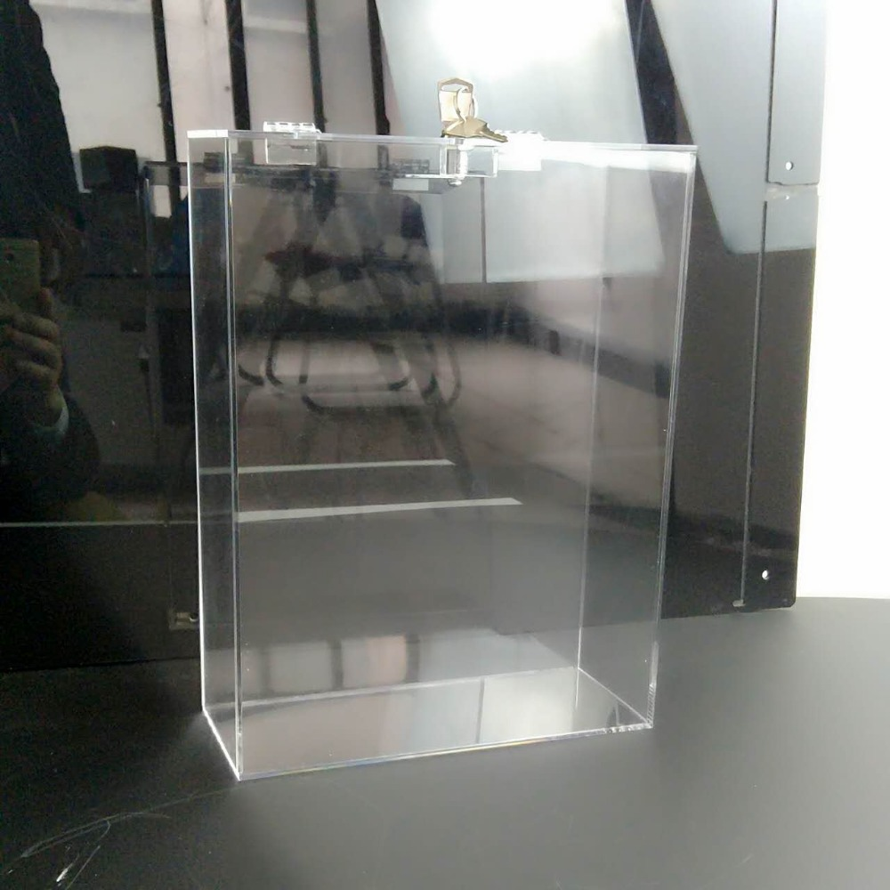 clear Acrylic raffle Charity Ballot Donation Box with lid & lock and key