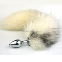Metal White Fox Tail Anal Plug Stainless Steel Silver Butt Plugs In 3 Sizes