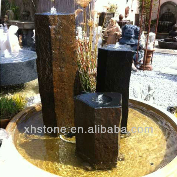 Three basalt stone fountain for landscape