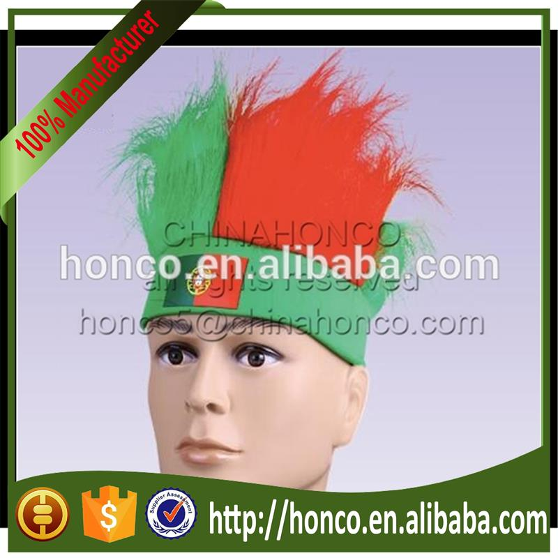Portugal football fan wig headband headbelt with wig for EURO 2016