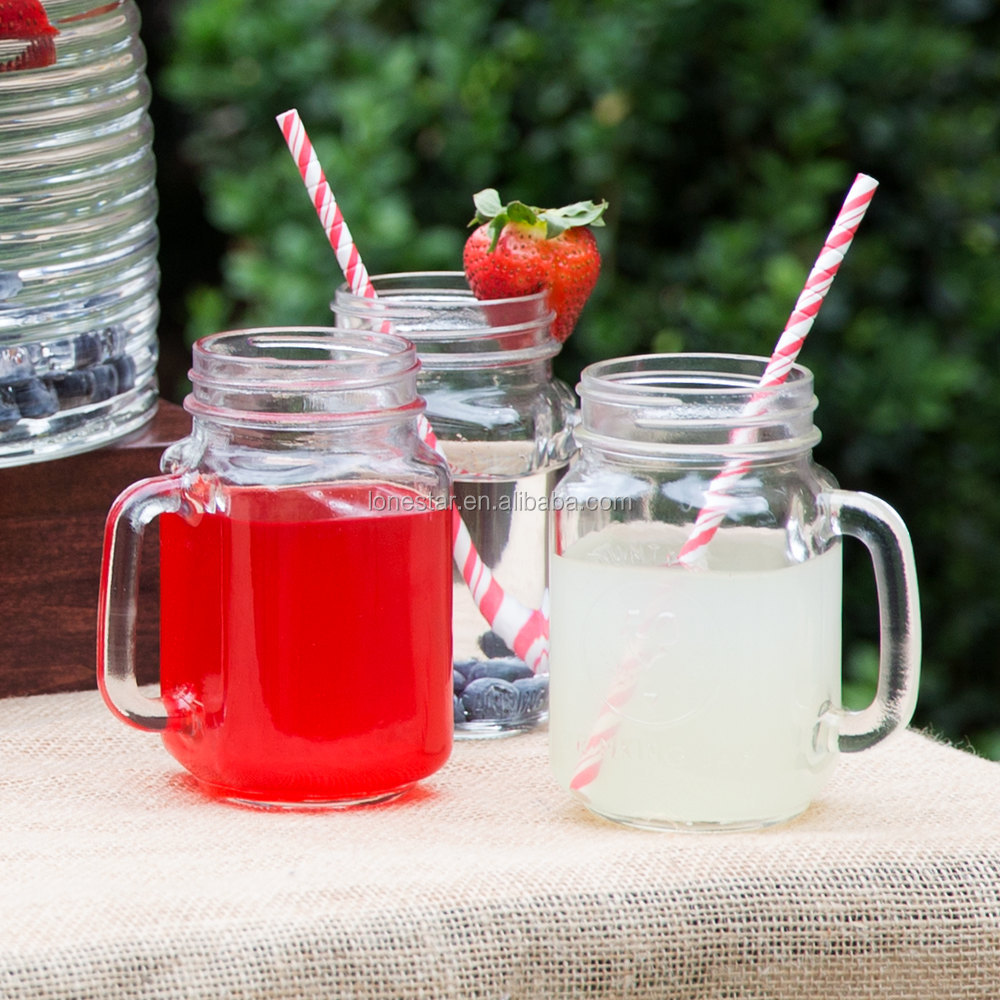 Hot sale Wholesale 16oz drink glass mason jars with straw lid