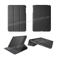 black leather folder stand case for ipad mini