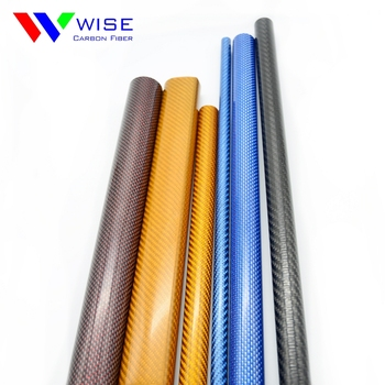 High strength colorful carbon fiber tube/colorized carbon fiber round hollow pipe shop