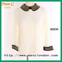 2012 Lady office uniform beaded design for formal blouses