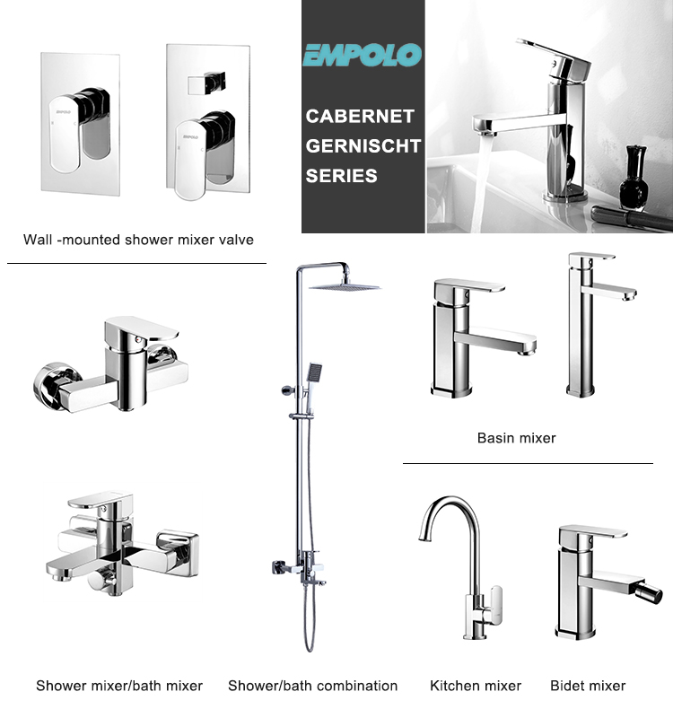 Sanitary Square Polished Brass Hot And Cold Water Mixer Bathroom Basin High Faucet