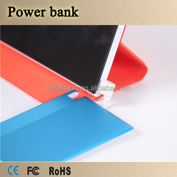 Mobile ultra thin power bank credit card size 850mah with Micro output