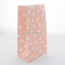Baby Pink Color Polka Dot Girl's Birthday Party Favor Paper Bags Packaging Bags