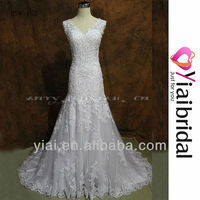 RSW153 Full Lace Cap Sleeve Trumpet Wedding Dress