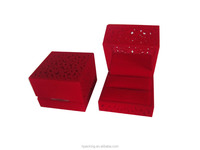 High quality Vintage red jewelry flocking boxes,ring jewelry box velvet insert