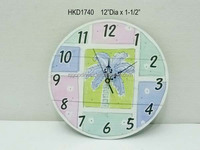12 Inch Diameter Palm Tree Themed Wall Clock Beach Decor