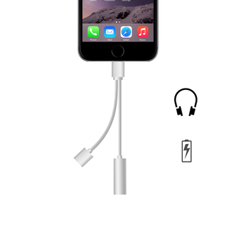 For iPhone7 Earphone Charging and Audio Adapter(silver)
