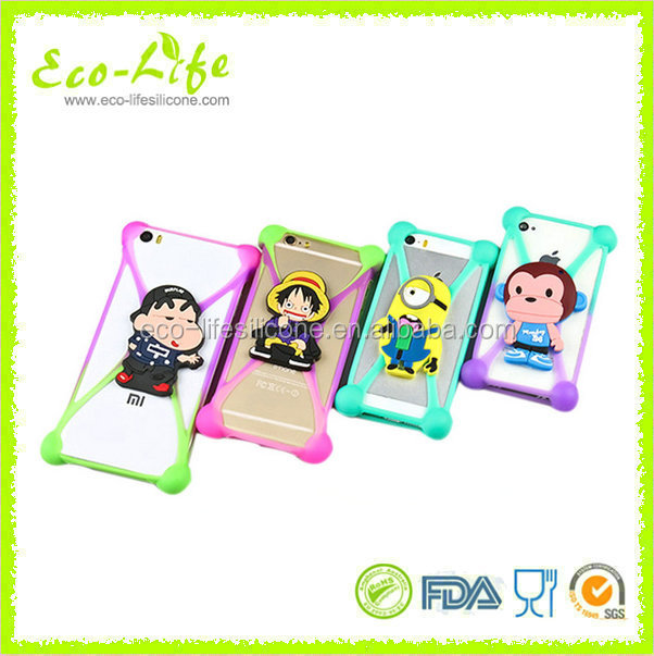 Newest Shockproof Elastic Soft Silicone Universal Phone Case with 3D Cartoon Stand