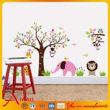 1000 Animals Wall Stickers Nursery PVC Decal Kids Room Monkey Elephant Stickers Tree Cartoon Decals Home Decor Home Decorations
