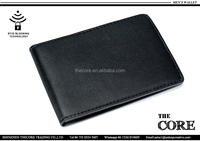 Classic black color RFid wallet,genuine leather minimalist wallet