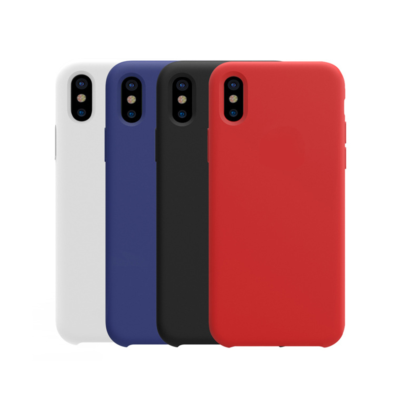 for iPhone X silicone <strong>case</strong>, liquid silicone gel rubber shockproof <strong>case</strong> and ultra soft microfiber cloth lining cushion
