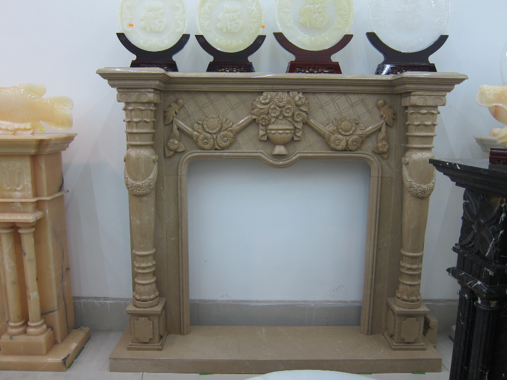 modern fireplace carving beige marble fireplace mantel