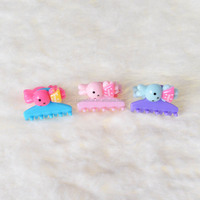 Hot sale shinny color lovely kids small hair claw in hair extension.