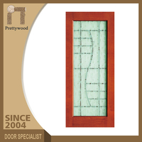 Swing Open Style Oak Solid Wood Glass Single Toilet Door Design