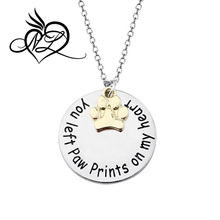 Loss of Pet If Love Could Have Saved You Engraved Necklace with Pet Footprints Pendant