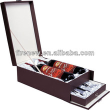 2016 luxury wooden 2 bottle wine box, gift box with drawers.