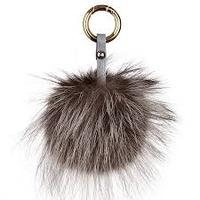 New Rico Design Brown Long Pile Faux Fox Fur Pompom Key Chain Pom Pom Purse Pendant In Brown With Natural Markings