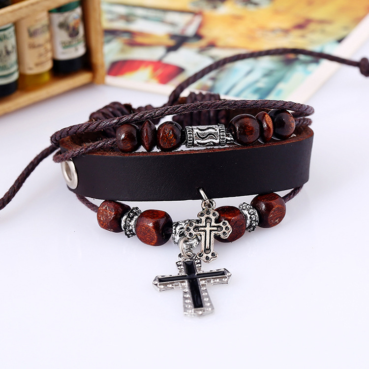 Fashion Layer Leather Bracelet with Trendy Cross Punk Charm