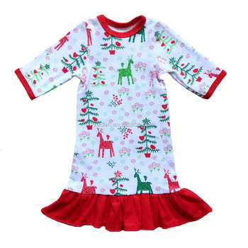 18 inch cute accessories doll dress 3/4 sleeve deer and tree pattern ruffle hem for christmas day