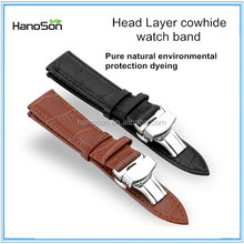 Top end Head Layer cowhide watch band waterproof, Flat straight connection watch band breathable