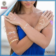 Metallic Tattoo Gold Silver Black Temporary Bling Flash Inspired Tats