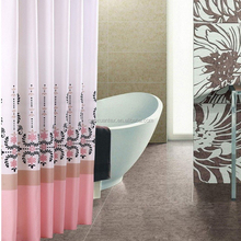 Polyester mildew proof Durable Printed with flower waterproof shower curtain